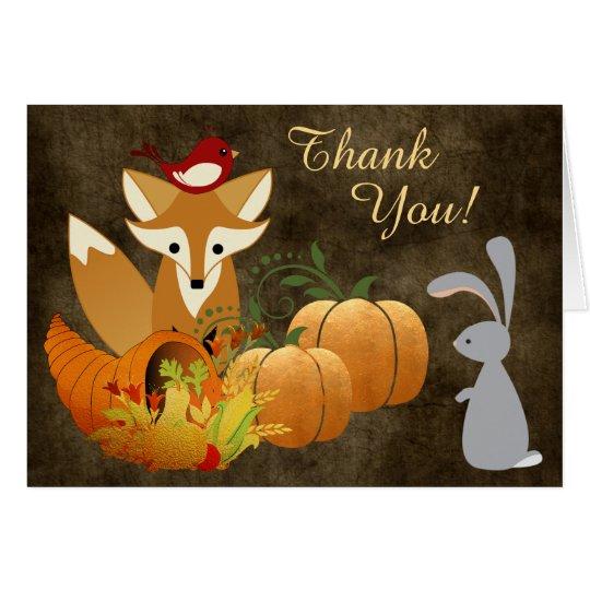 Cute Fox Woodland Animals Golden Autumn Thank You Card