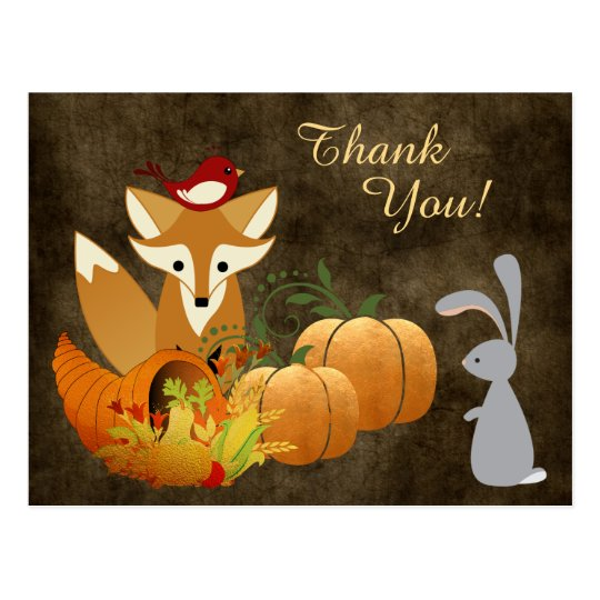 Cute Fox Woodland Animals Golden Autumn Thank You Postcard