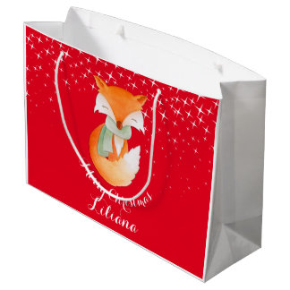 Cute fox wrapped up art named christmas gift bag