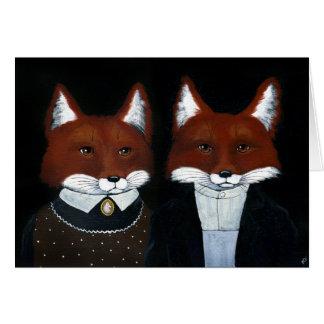 Cute foxes American Gothic anniversary blank card