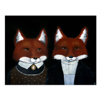 Cute Foxes Folk Art, American Gothic postcard