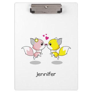 Cute foxes in love cartoon girls clipboard