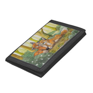 Cute foxes resting in forest trifold wallet
