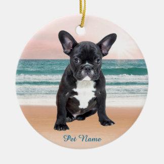 Cute French Bulldog Beach Sun Water Ceramic Ornament