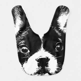 Cute French Bulldog Dog Face Bib