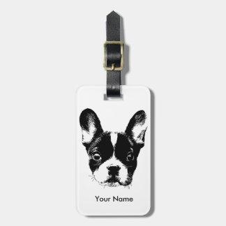 Cute French Bulldog Dog Face Custom Name Bag Tags
