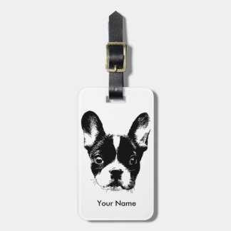 Cute French Bulldog Dog Face Custom Name Luggage Tag
