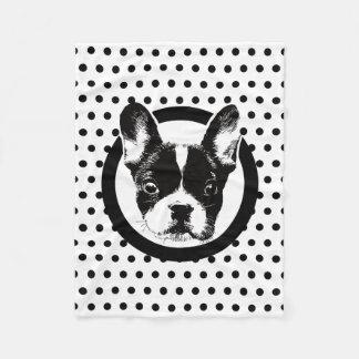 Cute French Bulldog Dog Face Polka Dots Fleece Blanket