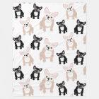 Cute French Bulldog Frenchies Pattern Fleece Blanket