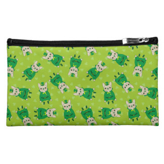 Cute French Bulldog is Feeling Lucky on St. Patric Makeup Bag