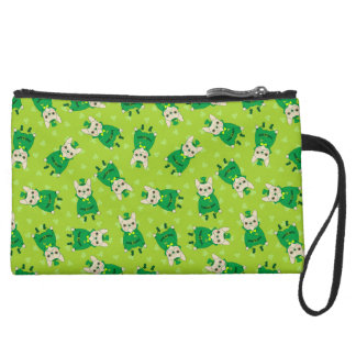 Cute French Bulldog is Feeling Lucky on St. Patric Suede Wristlet