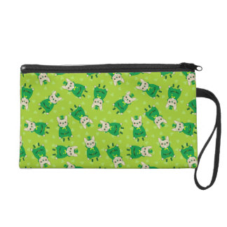 Cute French Bulldog is Feeling Lucky on St. Patric Wristlet
