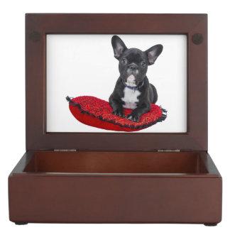 Cute french bulldog on pillow keepsake box