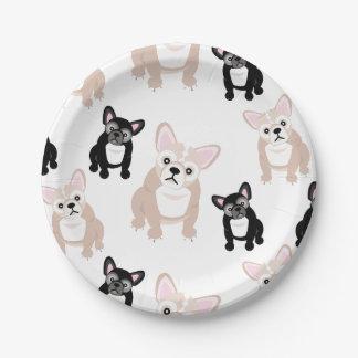 Cute French Bulldog Pattern Paper Plate