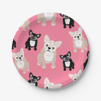 Cute French Bulldog Pattern Pink Party Cake Paper Plate