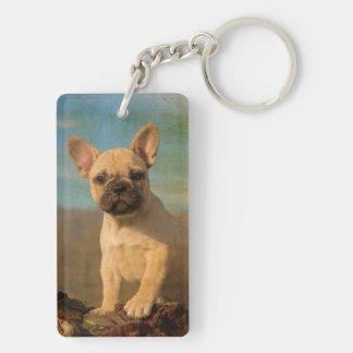 Cute French Bulldog puppy, vintage Double-Sided Rectangular Acrylic Key Ring