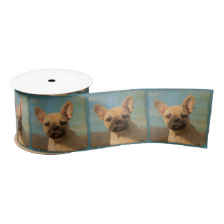 Cute French Bulldog Puppy Vintage Portrait Photo - Satin Ribbon