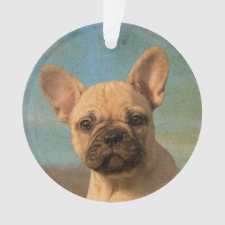 Cute French Bulldog Puppy Vintage - round acrylic Ornament
