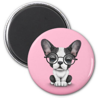 Cute French Bulldog Puppy with Glasses, pink 6 Cm Round Magnet