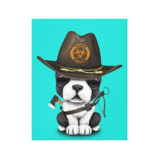 Cute French Bulldog Puppy Zombie Hunter Canvas Print