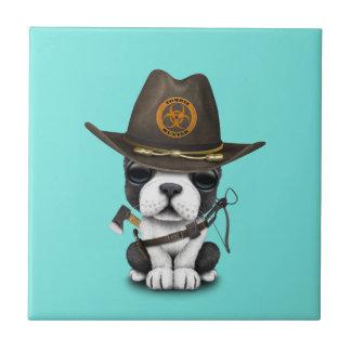Cute French Bulldog Puppy Zombie Hunter Ceramic Tile