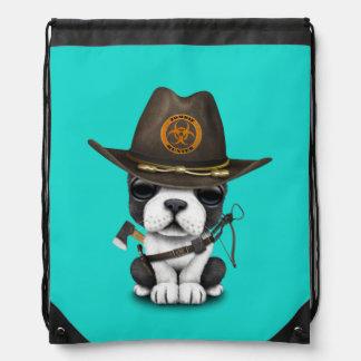 Cute French Bulldog Puppy Zombie Hunter Drawstring Bag