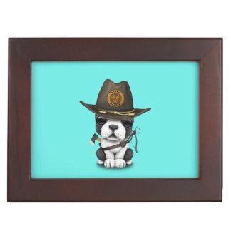 Cute French Bulldog Puppy Zombie Hunter Keepsake Box