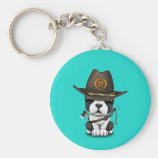 Cute French Bulldog Puppy Zombie Hunter Key Ring