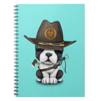 Cute French Bulldog Puppy Zombie Hunter Notebook