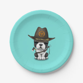 Cute French Bulldog Puppy Zombie Hunter Paper Plate