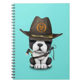 Cute French Bulldog Puppy Zombie Hunter Spiral Notebook