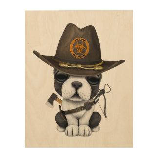 Cute French Bulldog Puppy Zombie Hunter Wood Wall Art