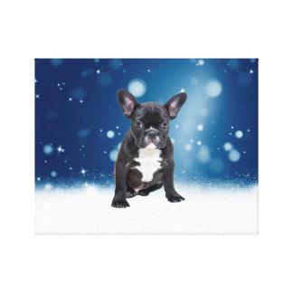 Cute French Bulldog Snow Stars Blue Christmas Canvas Print