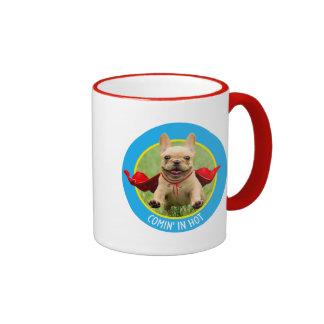 Cute French Bulldog Superhero Runs in Grass Ringer Mug