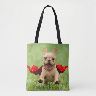 Cute French Bulldog Superhero Runs in Grass Tote Bag