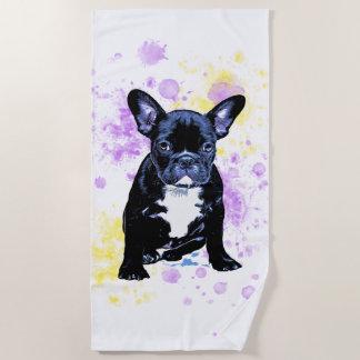 Cute French Bulldog Watercolor Inky Beach Towel