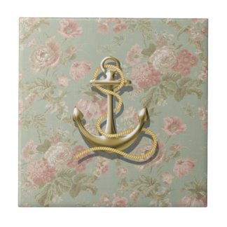 cute french country floral girly nautical anchor tile