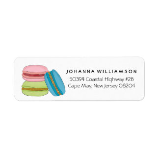 Cute French Macarons Macaroon Cookies Return Address Label