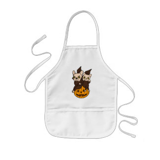 Cute Frenchie and kitten are Halloween buddies Kids Apron