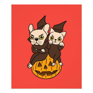 Cute Frenchie and kitten are Halloween buddies Photo Print