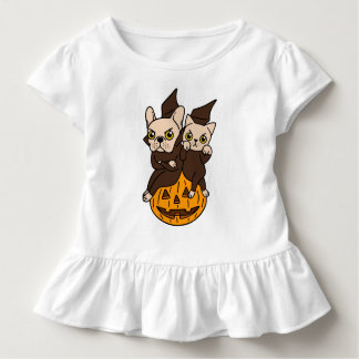 Cute Frenchie and kitten are Halloween buddies Toddler T-Shirt