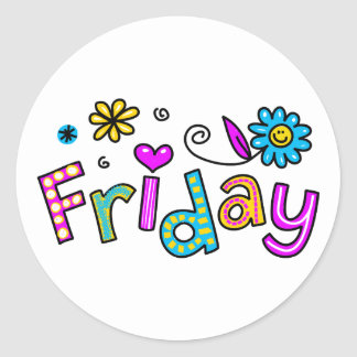 Cute Friday Week Day Greeting Text Expression Round Sticker