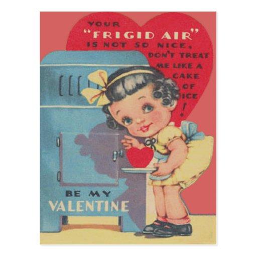 Cute Fridge Heart Ice Cake Valentine Post Cards