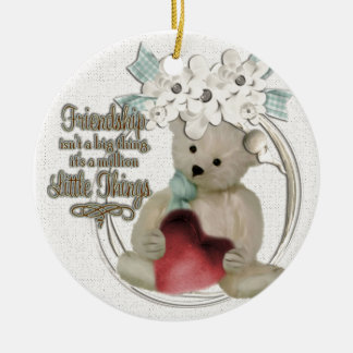 Cute friendship bear ceramic ornament