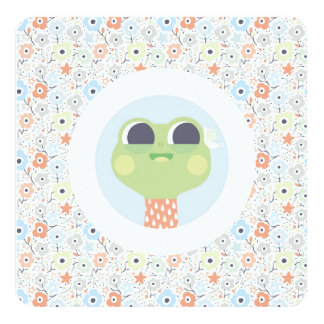 Cute frog and snail illustration & floral pattern card