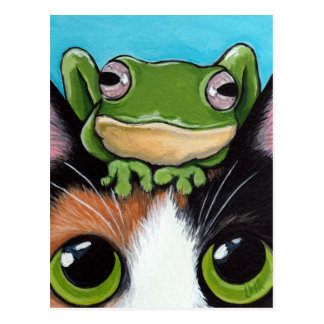Cute Frog and Tortoiseshell Cat Postcard