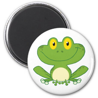 Cute Frog Cartoon Character 6 Cm Round Magnet