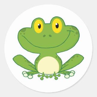 Cute Frog Cartoon Character Round Sticker