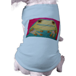 Cute Frog Design on Doggie Ribbed Tank Top Pet Clothes