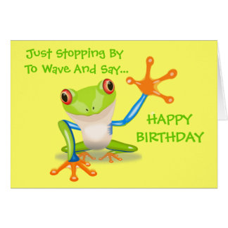 Cute Frog Funny Animal Kids Happy Birthday Card